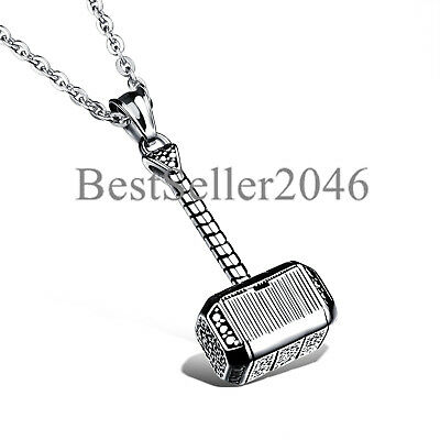 """Men Hammer of Thor Necklace Stainless Steel Thors Hammer Pendant Necklace 22"""""""