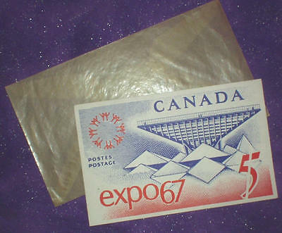 Vintage World Expo 67 1967 Canada Postcard + Postage Stamp + Orig Cello Envelope