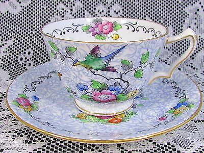 Crown Staffordshire Exotic Bird Floral Blue Tea Cup And Saucer