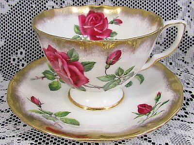 Adderley Large Pink Roses Heavy Gold Gilt Tea Cup And Saucer
