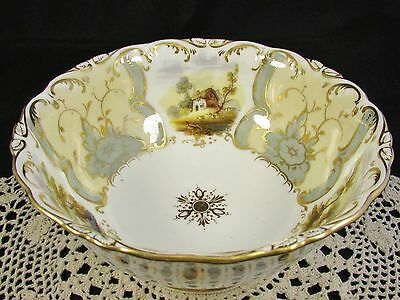 COALPORT 1840's HAND PAINTED SCENES GOLD GILT EMBOSSED BOWL