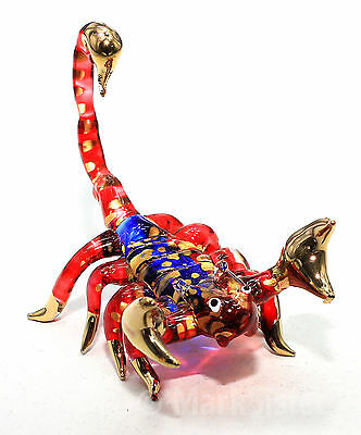 Figurine Animal Hand Blown Glass Scorpion Gold Trim - GNSP005
