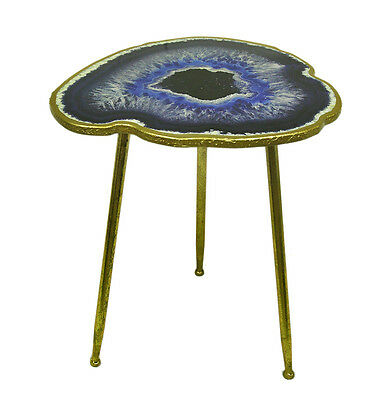 RTS-Blue Agate Geode Design Faux Gold Leaf Finish Decorative Accent Table 24 In,