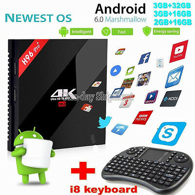 H96Pro+ Amlogic S912 Android 6.0 3G 32G 16.1 WiFi HDMI 2.0 4K New Smart TV BOX