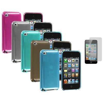 TPU Plain Rubber Jelly Case Cover+3X LCD Protector for iPod Touch 4th Gen 4G 4