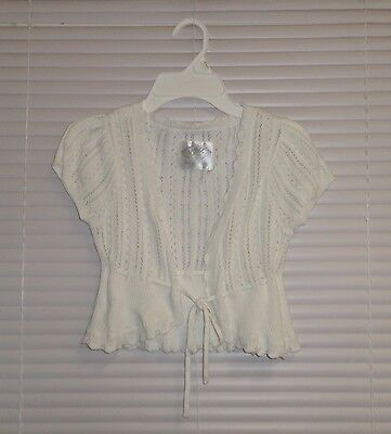 JUSTICE White Short Sleeve Cardigan Shrug Sweater Eyelet Design Size 14