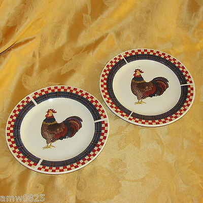 "2 Oneida Calico Rooster Salad Plates Majesticware 7 1/2"" Stoneware Leslie Beck"