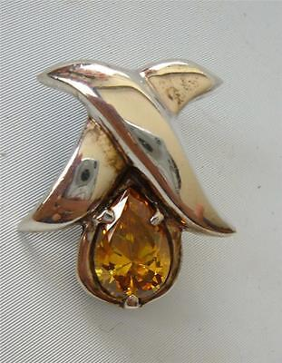 Vintage Sterling Silver Pendant Slide Large Teardrop Golden Yellow Stone Mexico