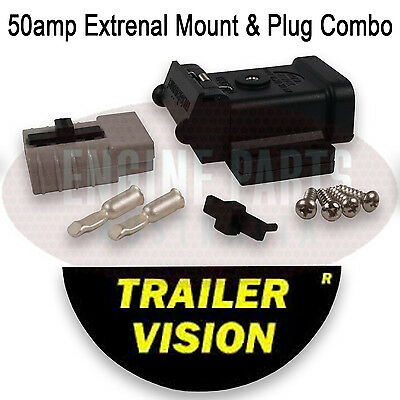 Weatherproof 50A Amp Anderson Plug Compatible Connector + Mounting Kit