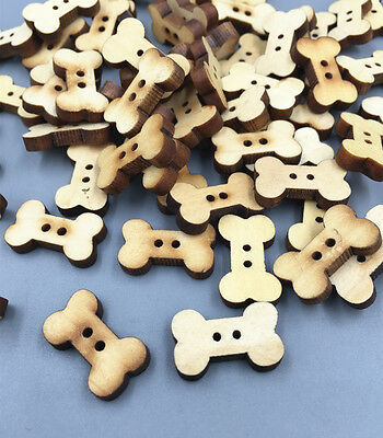 DIY 100X Wooden Dog Bone Buttons Natural color Sewing Scrapbooking Craft 18mm