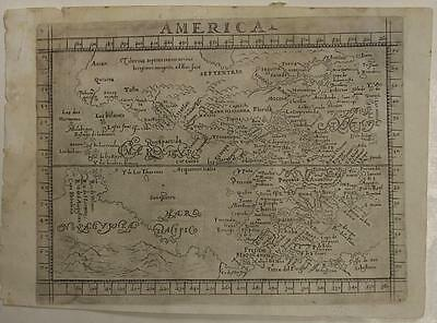 American Continent 1640 Botero Unusual Antique Original Copper Engraved Map