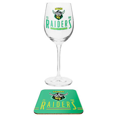 Canberra Raiders NRL Wine Glass And Coaster Set