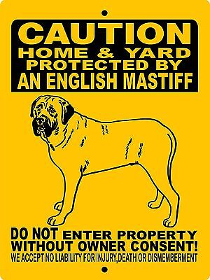 "ENGLISH MASTIFF DOG SIGN,GUARD DOG,ALUMINUM 9""x12"",Mastiff,Dog sign,H2496HYEM"
