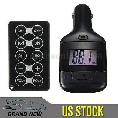 Car Kit Wireless LCD MP3 Player FM Transmitter SD AUX USB 12V for Android IOS