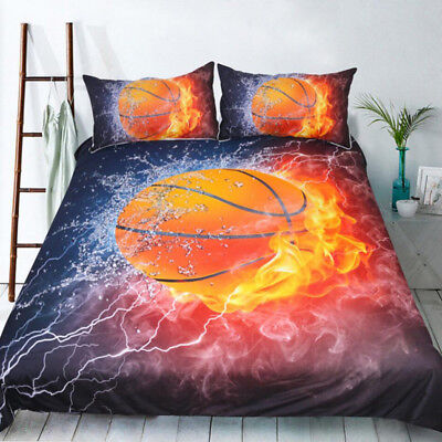Fire Basketball Doona Duvet Quilt Cover Set Single Double Queen Size Bed Covers