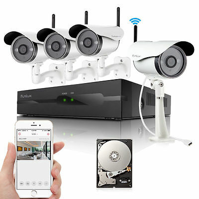 Funlux 720P 4CH HD NVR 2000TVL WIFI Wireless IP CCTV Security Camera System 500G