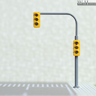 2 x traffic lights HO OO crossing walk model train led street signals #B3C3RHOR