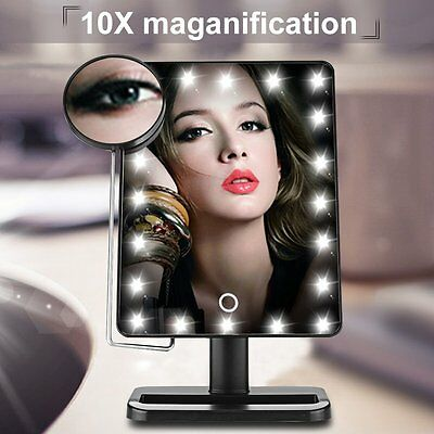 20 LED Light Touch Screen Make-up Mirror Cosmetic Stand Mirror 10X Magnifying UK