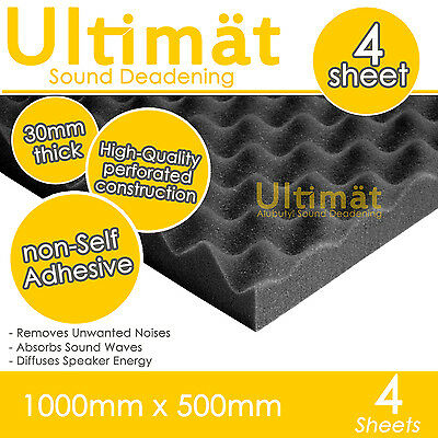 4x Acoustic Egg Foam Sound Proofing Damping Deadening Mat Sheet 1000x500x30mm