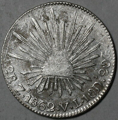 1862-Zs MEXICO Silver CAP & RAYS 2 reales 1st Republic coin (16062005R)