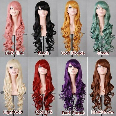 Hot Fashion Long Wavy Curly Anime Cosplay Wig Kanekalon Fibre Synthetic Hair