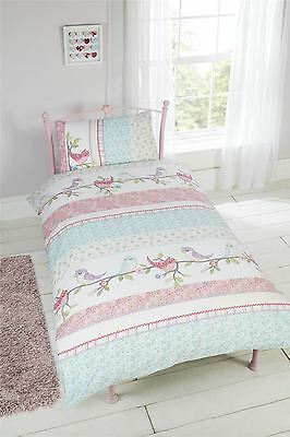 Little Birdies Birds Flowers Single Duvet Cover & Pillowcase Set