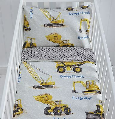 Dumper Trucks Digger Tractor Cot Duvet Cover & Pillowcase Set 90cmx120cm