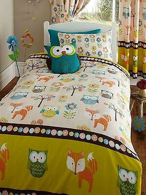 Woodland Creatures Fox Owl Flower Junior Bed Duvet Cover Set 120cmx150cm