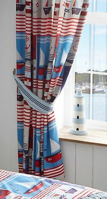 """Maritime Sea Sailor Boat Ship Embroidered 72"""" Lined Ready Made Curtains"""