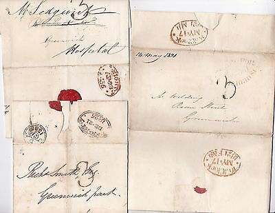 * 1821/35 4 Diff London Timed Postmarks On 1 Letter & 2 Wrappers - Pre-Stamp