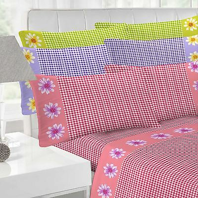 Daisy Check Flannelette Sheet Set Bedding Set Fitted Sheet Bed Sheets Bed Linen