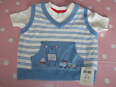 George Boys Age 0-3 Months Blue & White Short Sleeve T-Shirt & Tank Top Set NEW