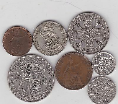 1933 George V Part Set Of 7 Coins In Good Fine Condition