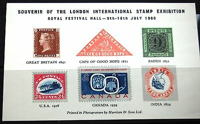 London International Stamp Exhibition Festival Hall 1960 Souvenir Stamp Sheet