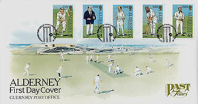GB ALDERNEY FDC: 1997 Past Times - Cricket + Guernsey PO SHS