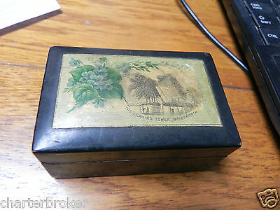 Antique Wooden Ebonised Treen Trinket Box The Leaning Tower, Bridgenorth