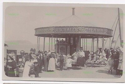 Old Postcard Steam Carousel Birchall's Of St Blazey Cornwall Real Photo 1905-10