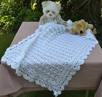 Handmade Crocheted Acrylic Baby cot/pram blanket/cover-lacy scolloped edge