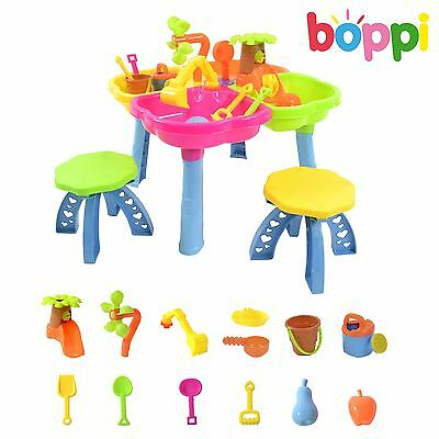 Childrens Kids Toddler Sand and Water Play Table Activity Sandpit With 2 Stools