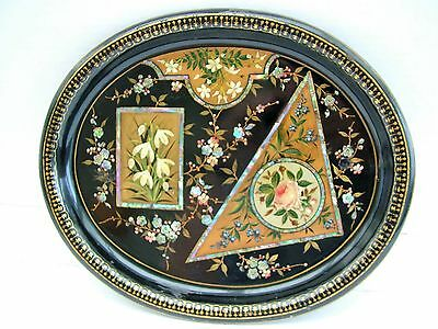 19th C Toleware Japanned Trademan's Sample Tray Aesthetic Small Size Floral Dec'