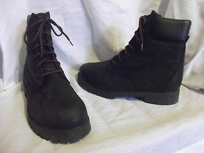 Mens black leather casual walking combat boots size 46 uk 12