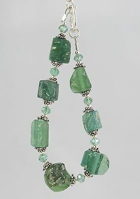 ancient Roman glass and crystal sterling silver bracelet 7""