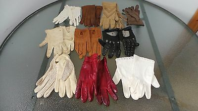 Vintage Ladies Gloves Assortment Lot of 10 Different Colors Some are LEATHER