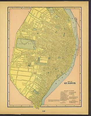 Vintage Street Map of: ST. LOUIS, MISSOURI in Pink, Blue and Green