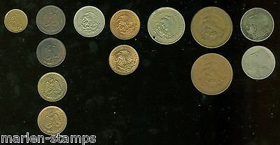 Mexico Lot Of 13 Coins & Two Greek Coins As Shown