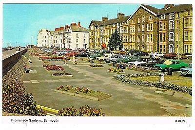 Postcard - Cars at The Promenade Gardens - Barmouth Merionethshire Wales