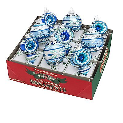 Radko Shiny Brite Winter Frost 9 Count Rounds & Shapes Glass Ornaments