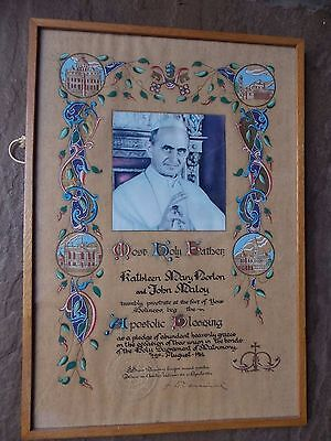Lovely Vintage Personal and Signed Apostolic Blessing Original Art Pope PAUL VI.