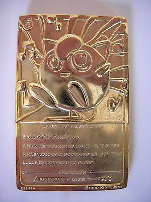 Jigglypuff 23 Carat Gold Plated Pokemon Card - Good Condition