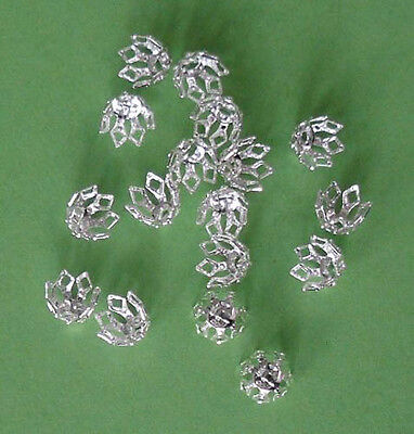 20 med (8mm) silver plated 7-prong 'filigree' bell caps, findings for jewellery